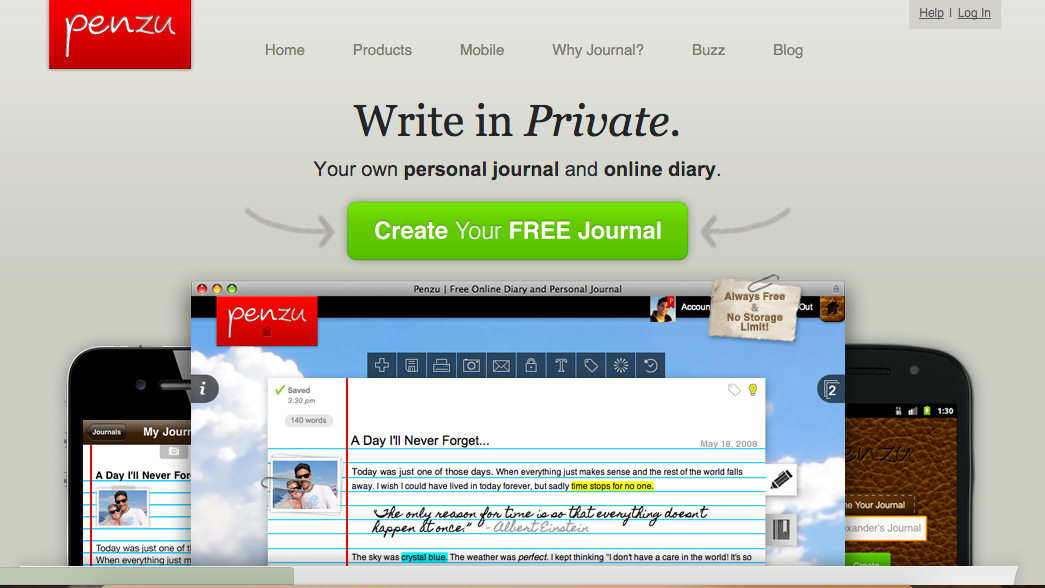 Penzu free version home page